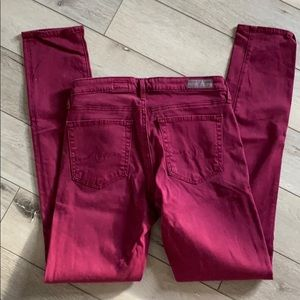 AG Adriano Goldschmied Burgundy Cigarette Pant, 26